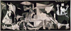 Picassa osud Guernicy šokuje. Výsledkem je obraz skoro osm metrů široký a tři a půl metru vysoký.