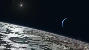 Pohled z Neptunova měsíce Triton na mateřskou planetu a na Slunce.