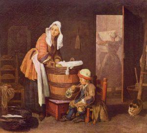 První pokusy, jak zjednodušit ženám praní, se objevují již na konci 17. století.