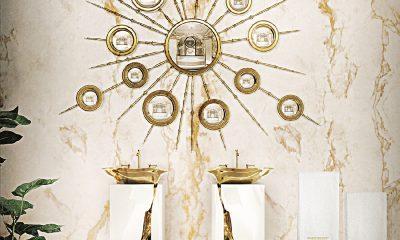 Samostatně stojící umyvadla Lapilaz zdobí efektní zlacení v podobě kamenné praskliny. Maison Valentina, covethouse.eu, 345 000 Kč
