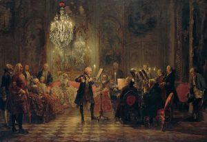 Své hosty bavil pruský král i hrou na flétnu.