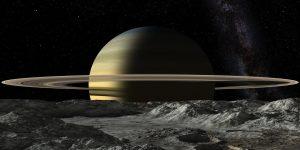 Umělecká představa pohledu na Saturn z povrchu Mimasu.