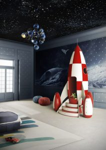 Víceúčelové křesílko Rocky Rocket od Circu se mimo jiné hravě zhostí role úložného prostoru pro dětské poklady.