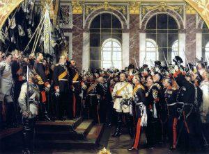 V Zrcadlovém sále ve Versailles je v lednu 1871 vyhlášeno Německé císařství.