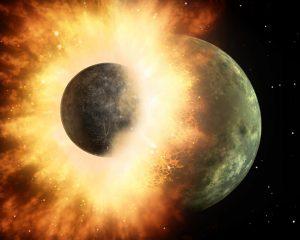 V pradávných dobách si planeta Země dala poněkud náruživější dostaveníčko s jiným tělesem.
