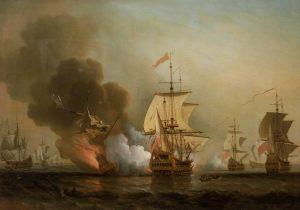 Výbuch španělské galeony San José v roce 1708.